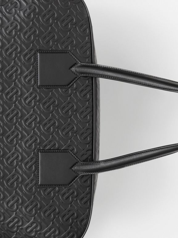 Large Monogram Leather Cube Bag in Black - Men | Burberry - cell image 1