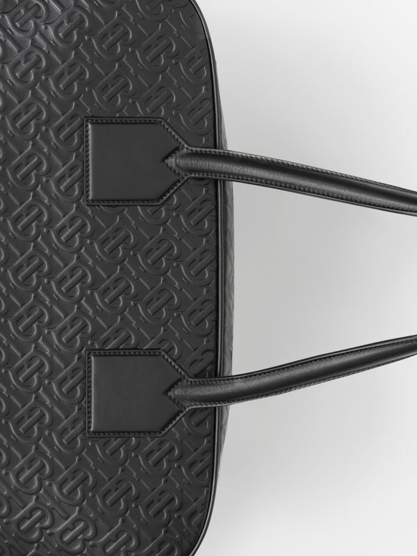 Large Monogram Leather Cube Bag in Black - Men | Burberry - cell image 2