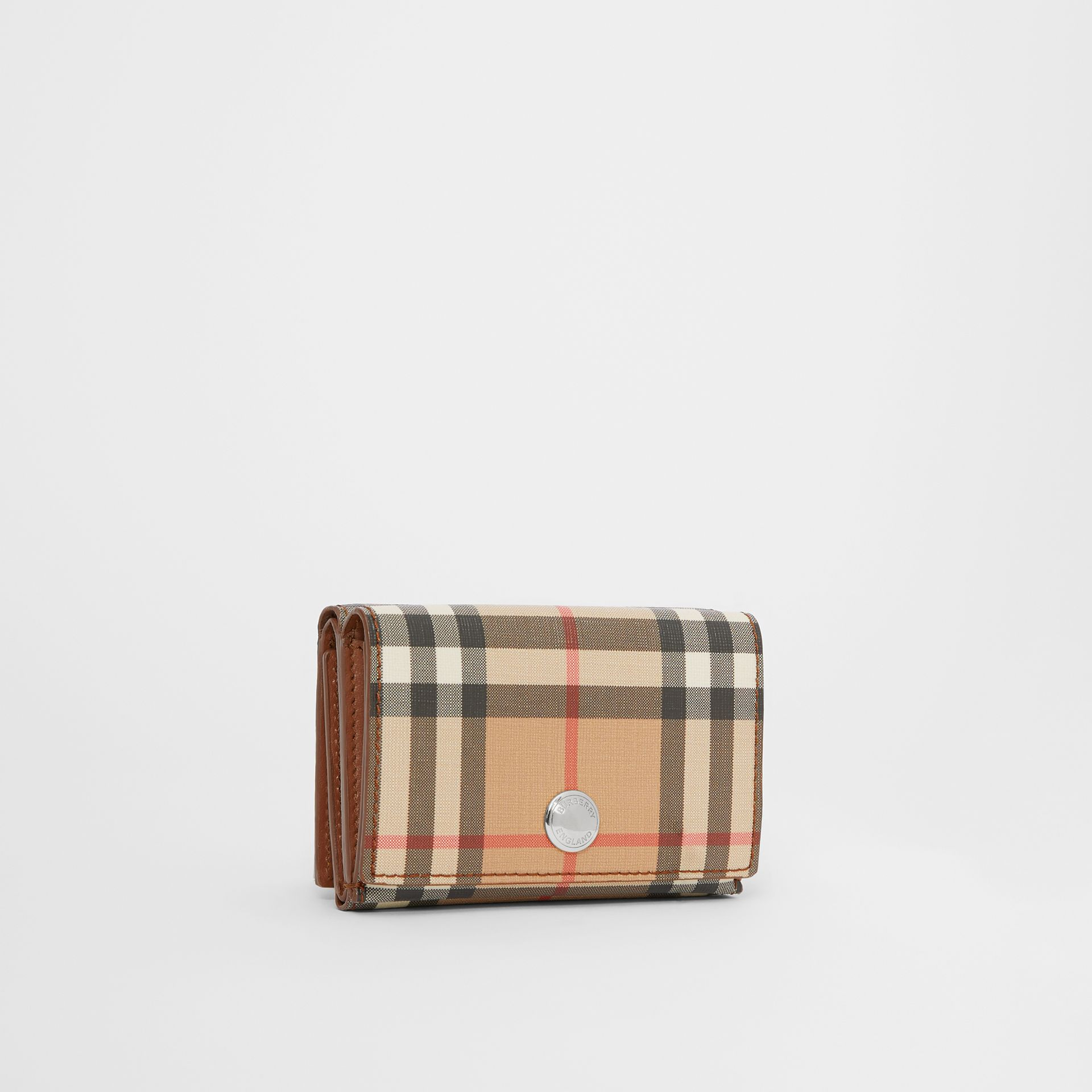Small Vintage Check E-canvas Folding Wallet in Malt Brown - Women | Burberry - gallery image 4