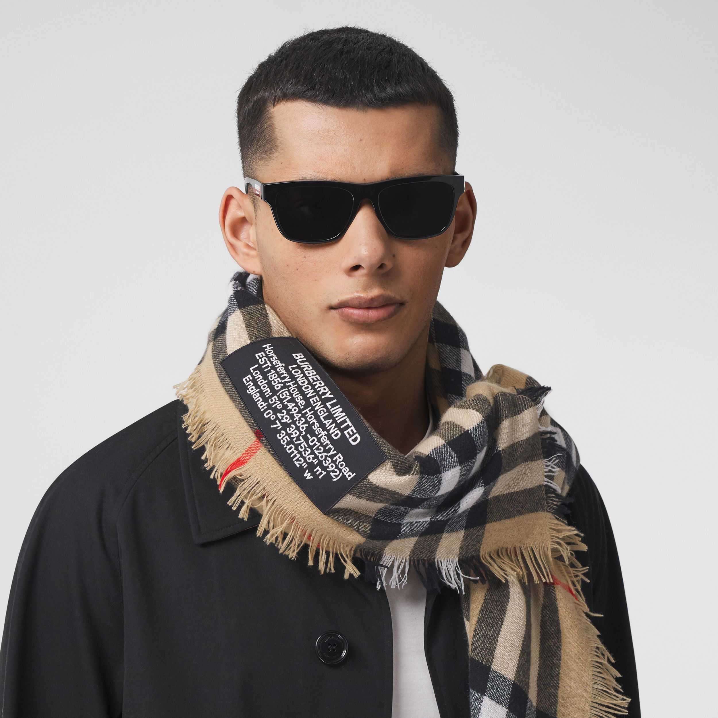 Logo Graphic Check Cashmere Large Square Scarf in Archive Beige | Burberry - 4