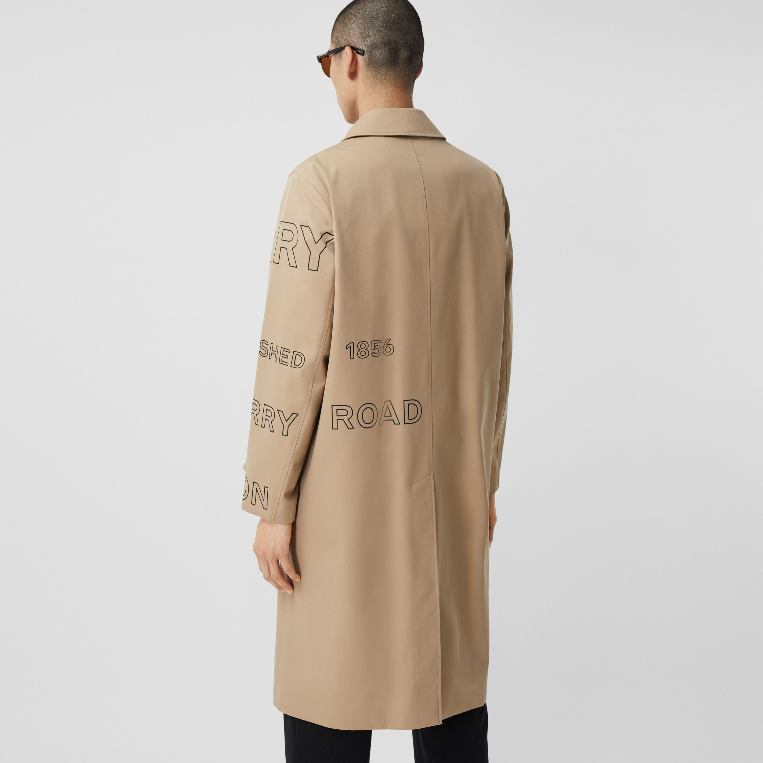 Horseferry Print Cotton Gabardine Car Coat in Honey - Men | Burberry - 3