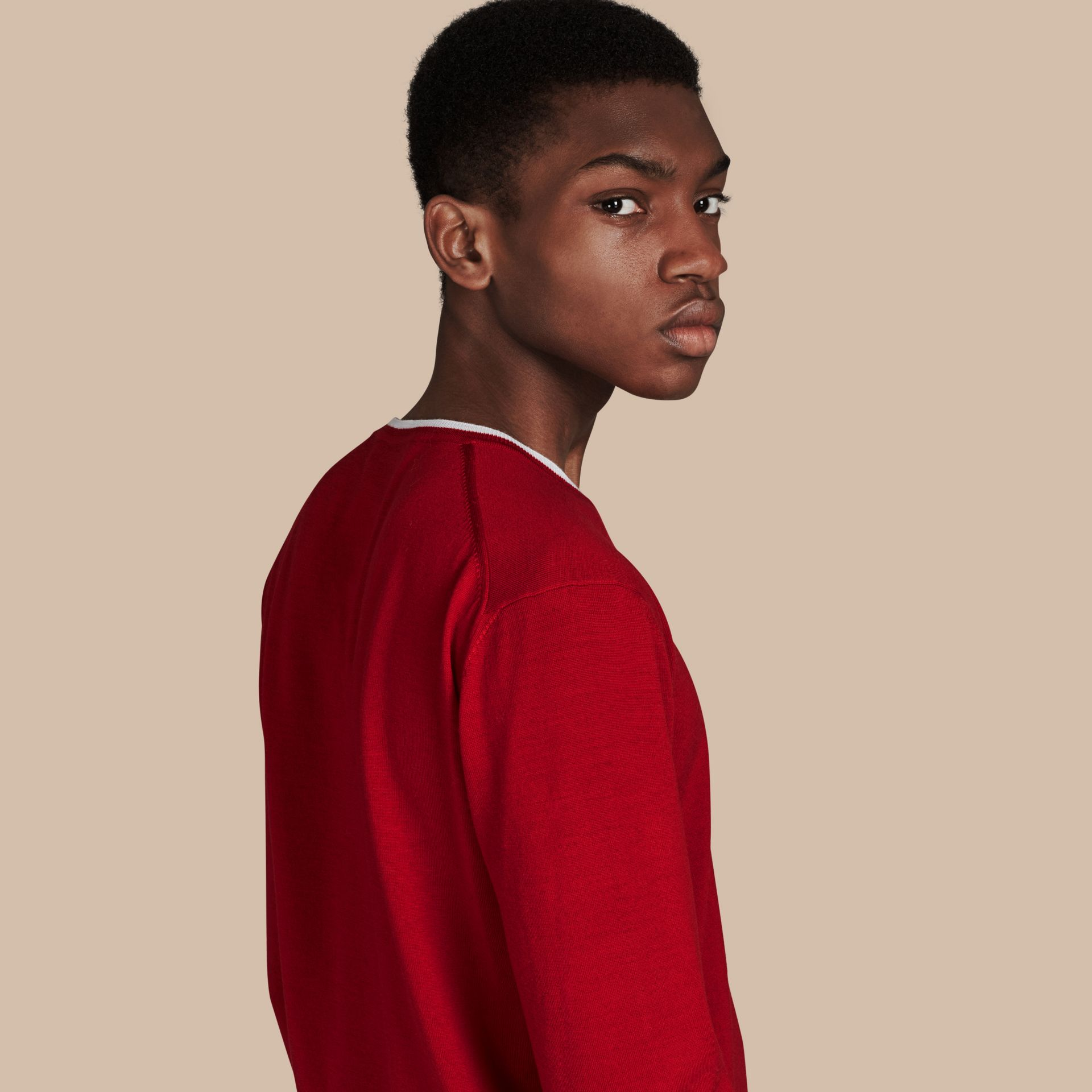 Cranberry  red/white Lightweight Crew Neck Wool Sweater - gallery image 1