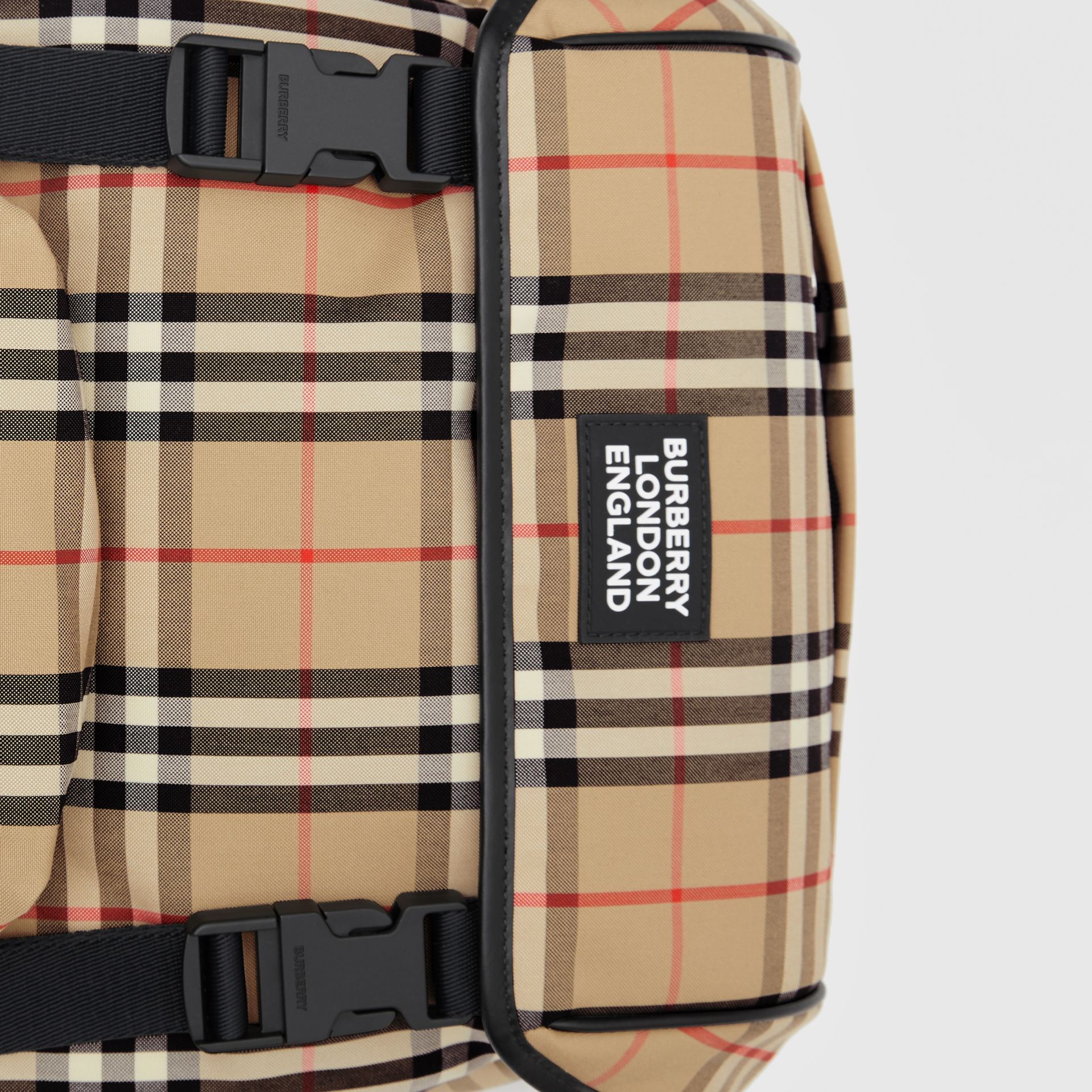 Logo Detail Vintage Check Backpack in Archive Beige | Burberry - gallery image 1