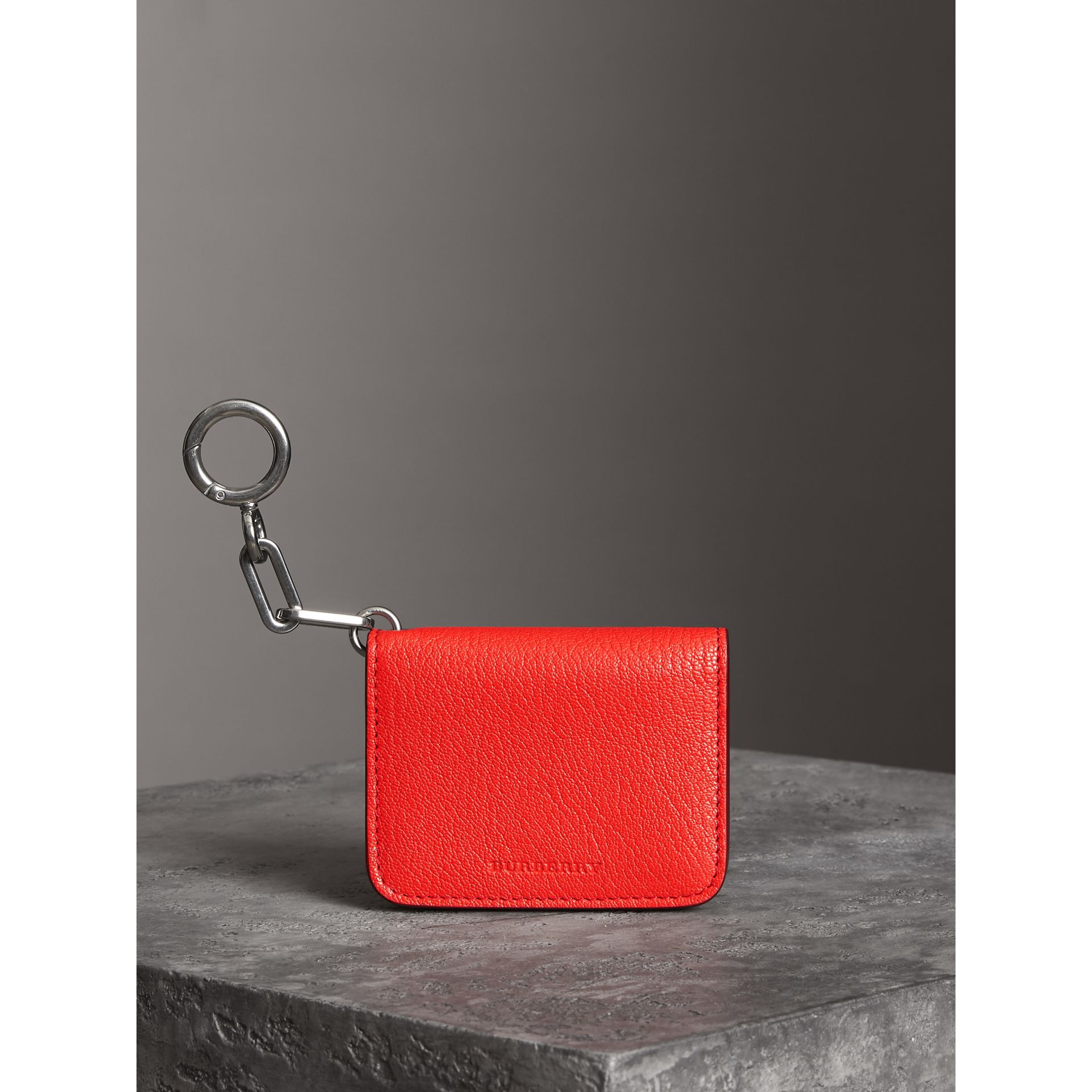 Link Detail Leather ID Card Case Charm in Bright Red | Burberry - gallery image 4