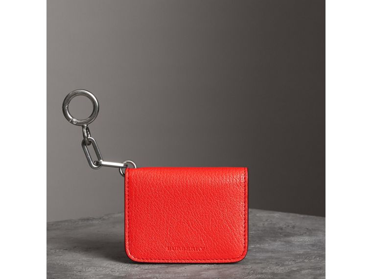 Link Detail Leather ID Card Case Charm in Bright Red | Burberry - cell image 4