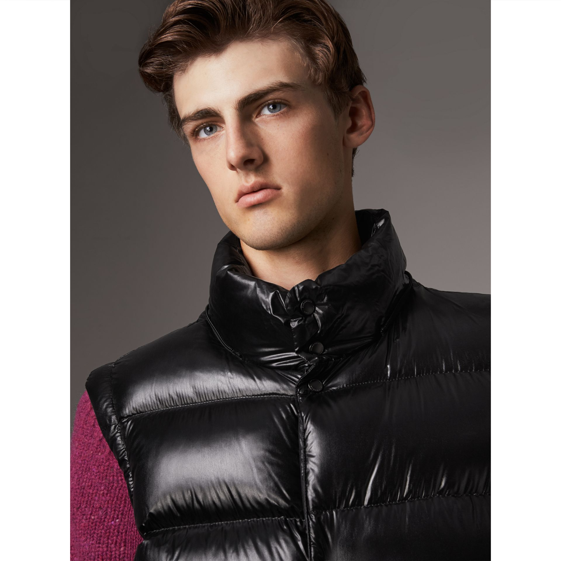 Detachable Hood Down-filled Gilet in Black - Men | Burberry - gallery image 1