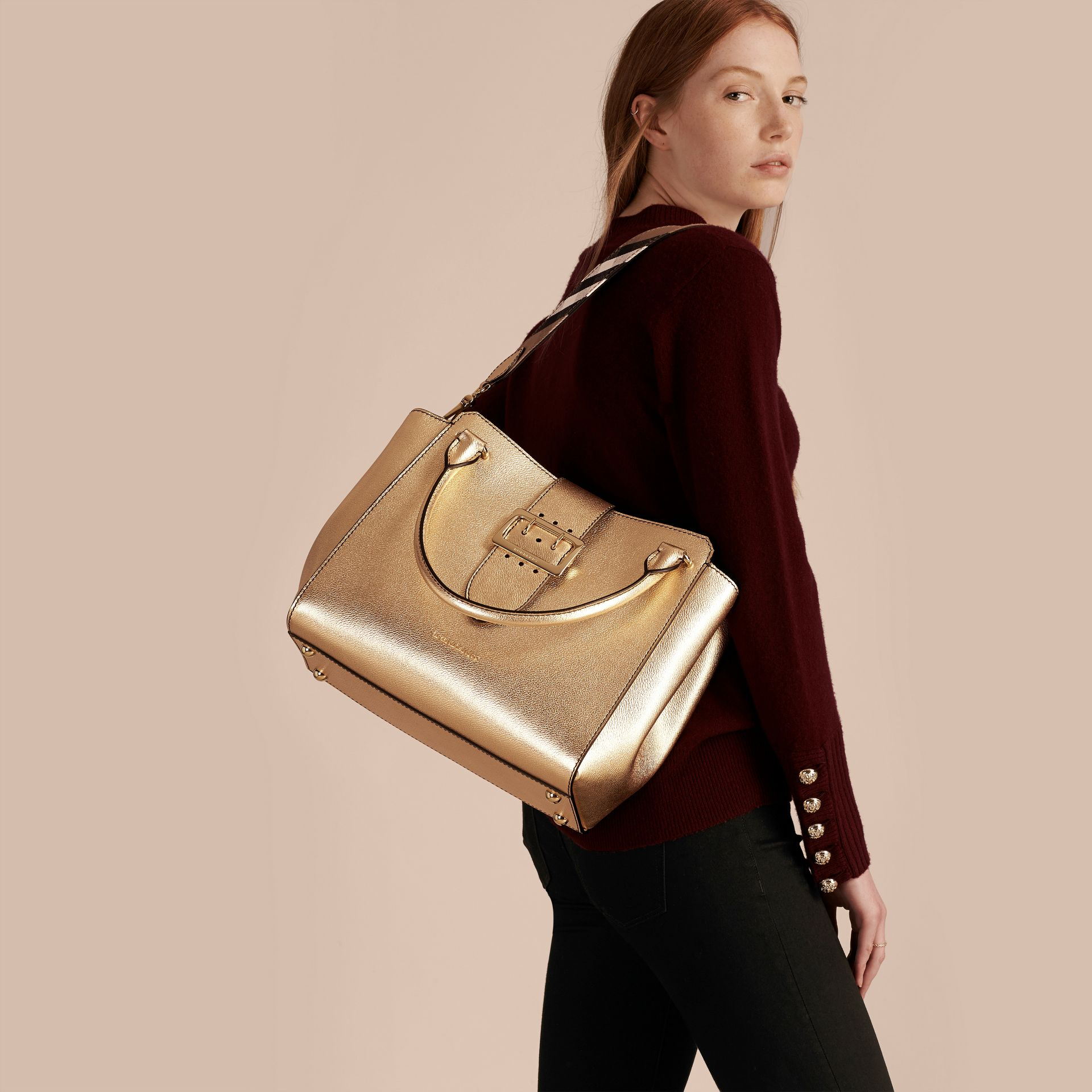 Gold The Medium Buckle Tote in Metallic Leather - gallery image 4