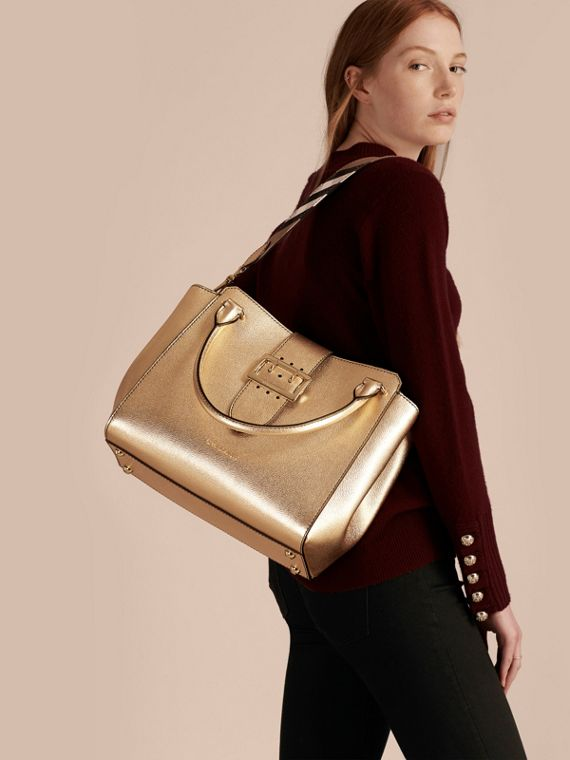 Gold The Medium Buckle Tote in Metallic Leather - cell image 3