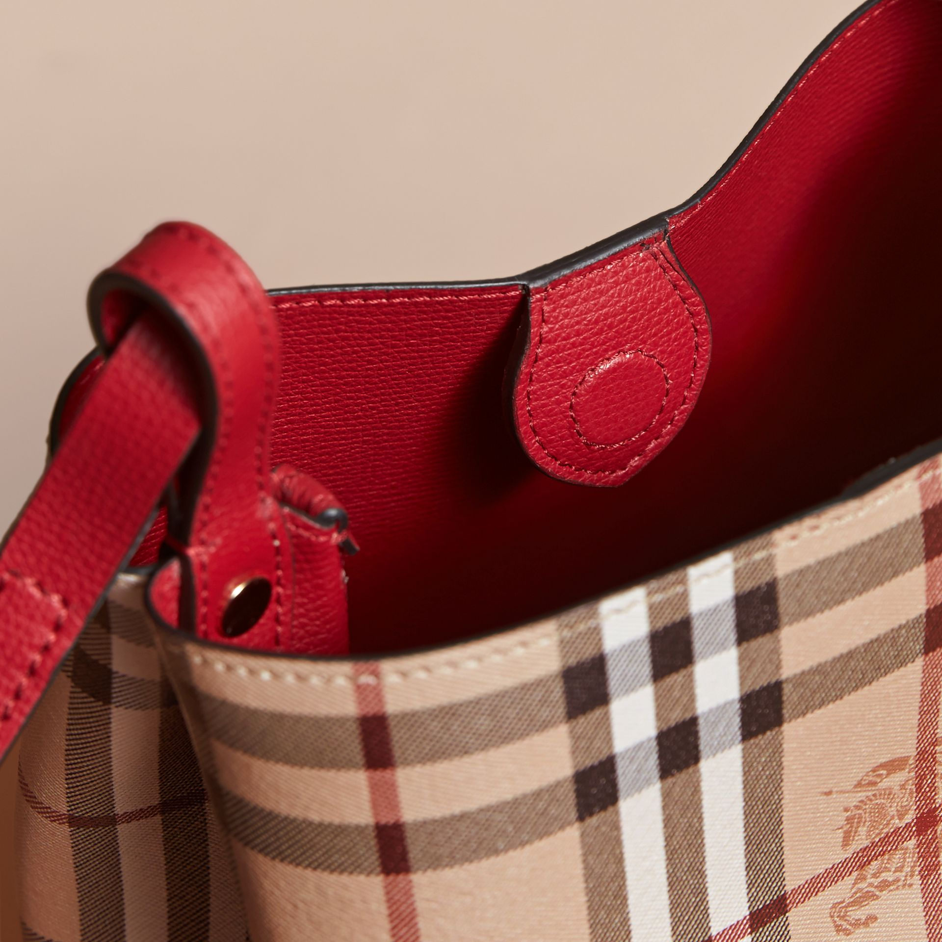 Leather and Haymarket Check Crossbody Bucket Bag in Poppy Red - Women | Burberry - gallery image 5