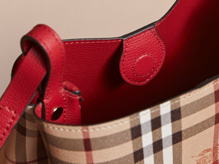Leather and Haymarket Check Crossbody Bucket Bag in Poppy Red - Women | Burberry - cell image 4