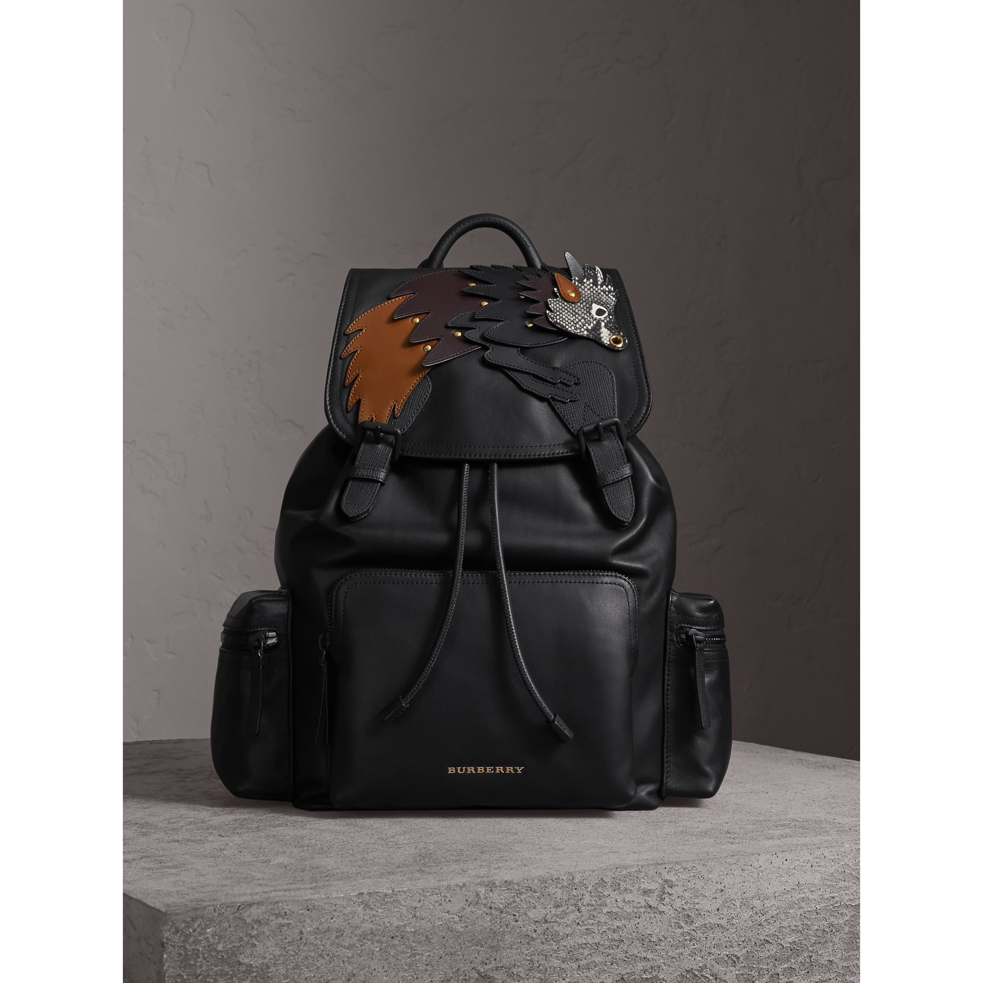The Large Rucksack in Leather with Beasts Motif - Men | Burberry - gallery image 1