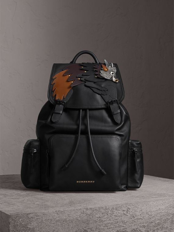 The Large Rucksack in Leather with Beasts Motif - Men | Burberry Australia