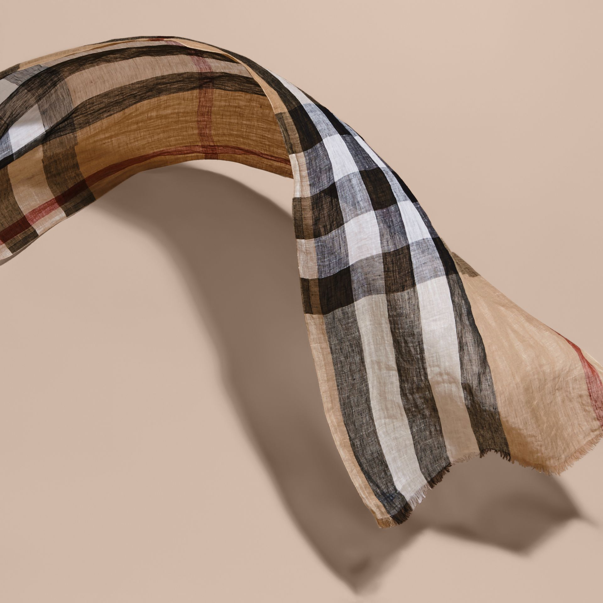 Lightweight Check Linen Scarf in Camel - gallery image 4