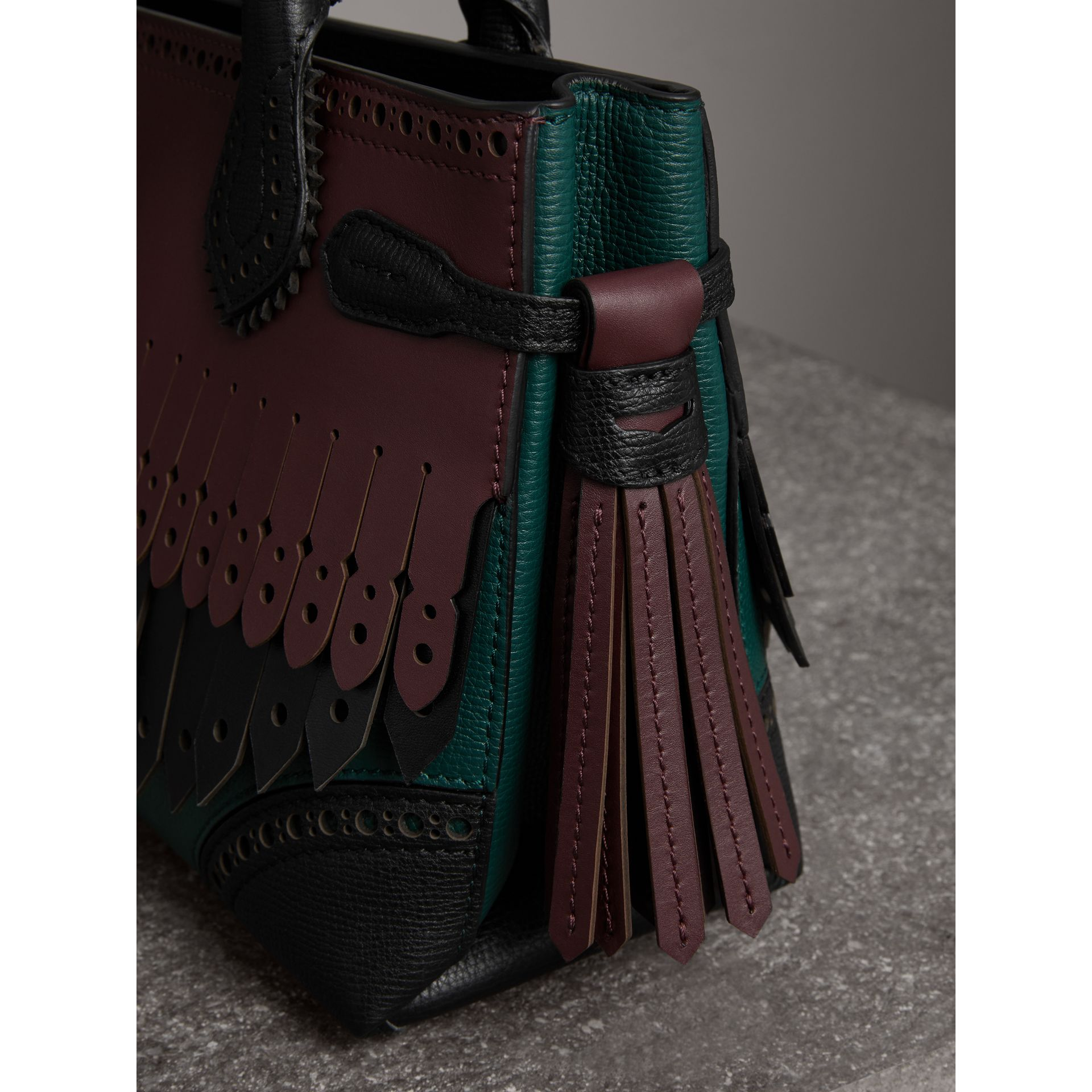 The Small Banner in Brogue Detail Leather in Sea Green - Women | Burberry - gallery image 1