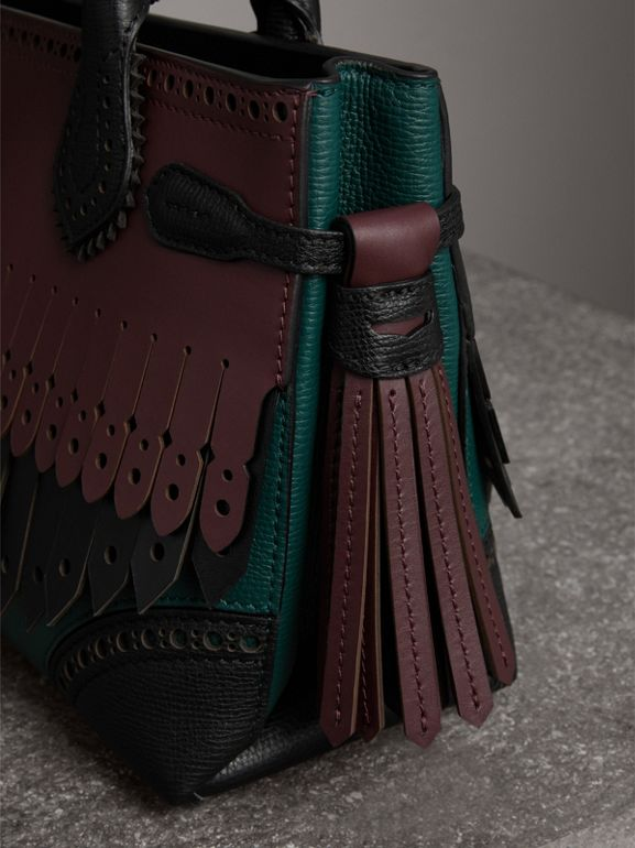 The Small Banner in Brogue Detail Leather in Sea Green - Women | Burberry United Kingdom - cell image 1