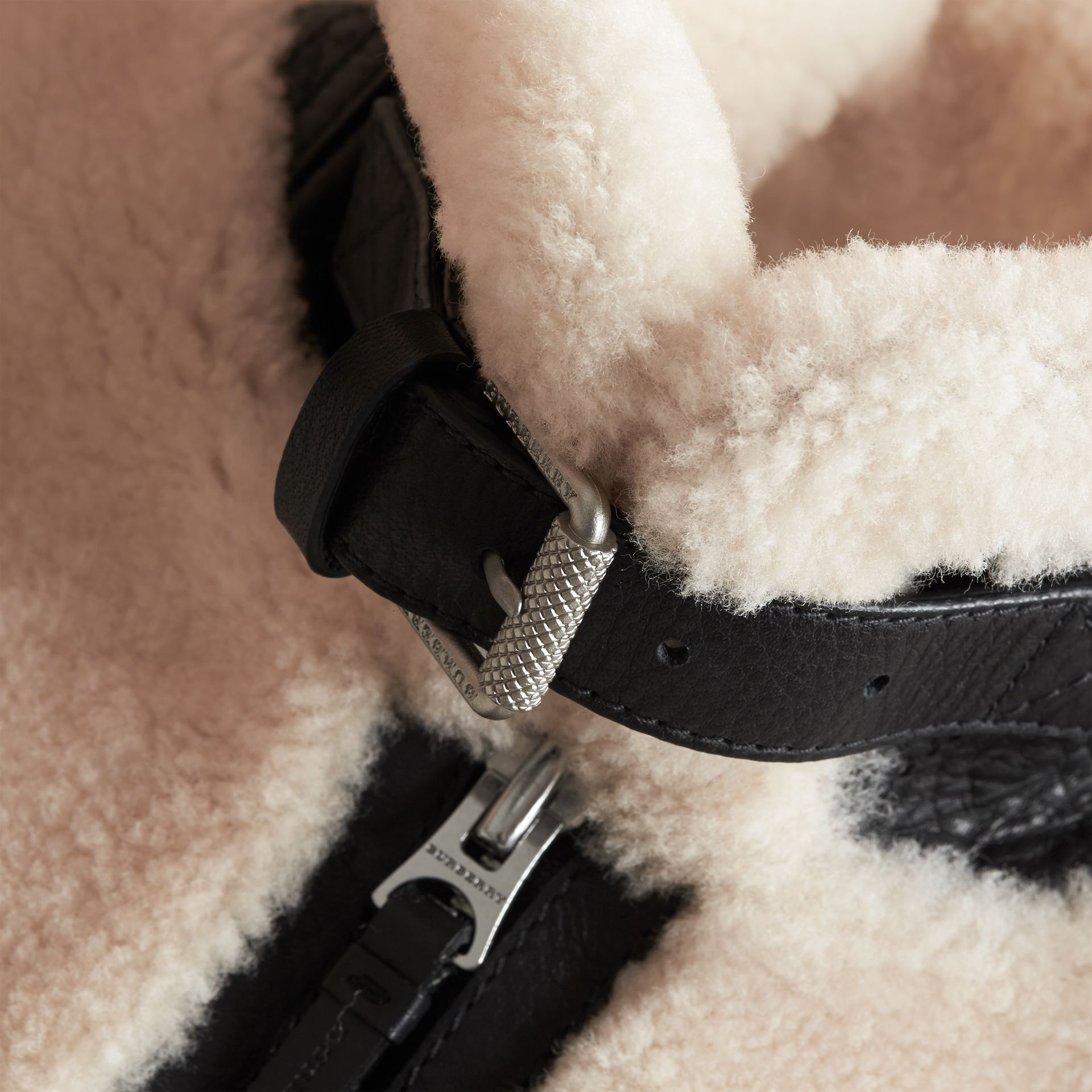 Leather Trim Shearling Aviator Jacket - Boy | Burberry - gallery image 2