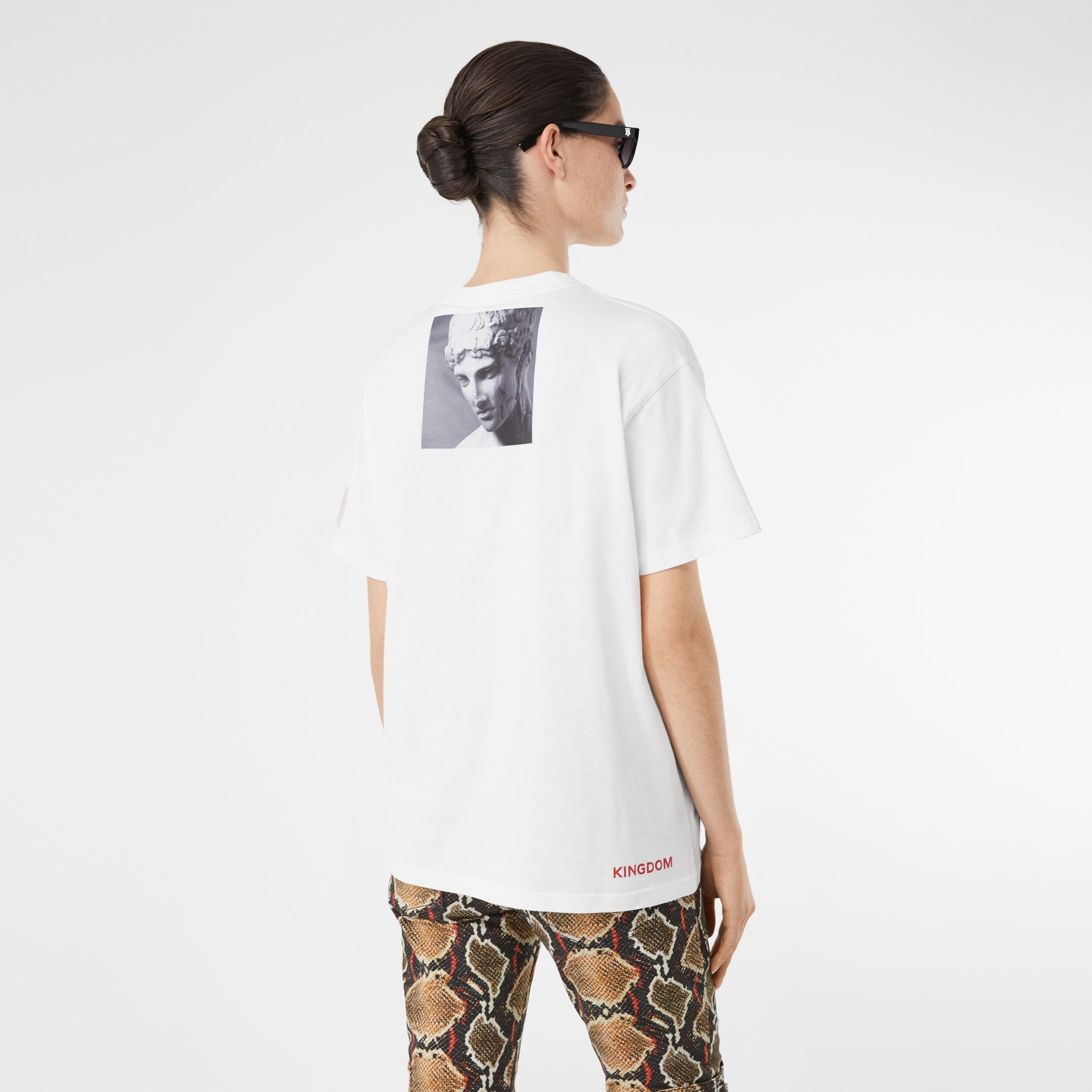 Montage Print Cotton Oversized T-shirt in White - Women | Burberry - 3