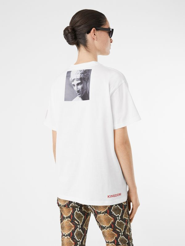 Montage Print Cotton Oversized T-shirt in White - Women | Burberry - cell image 2