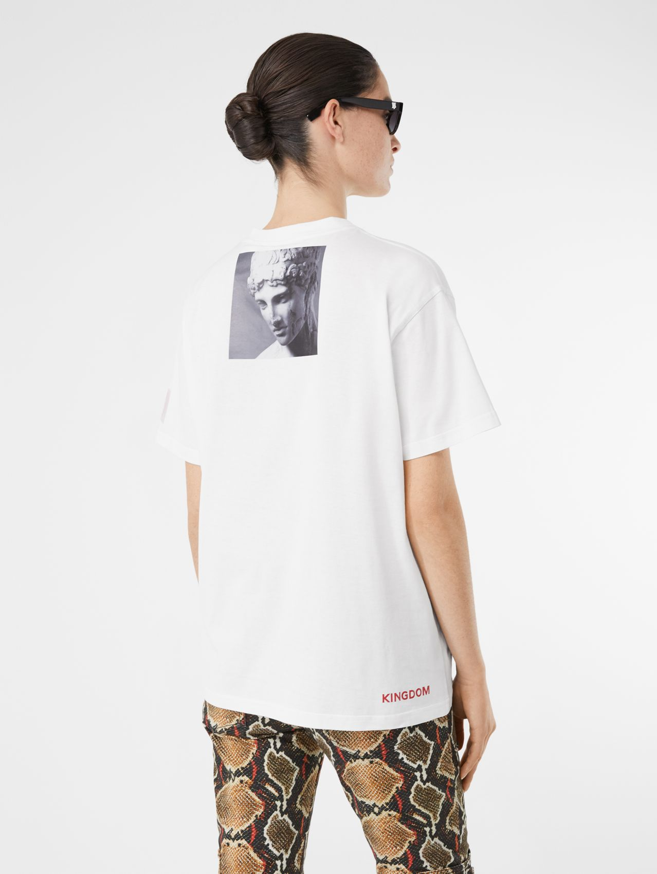 T-shirt oversize in cotone con stampa in stile collage (Bianco)