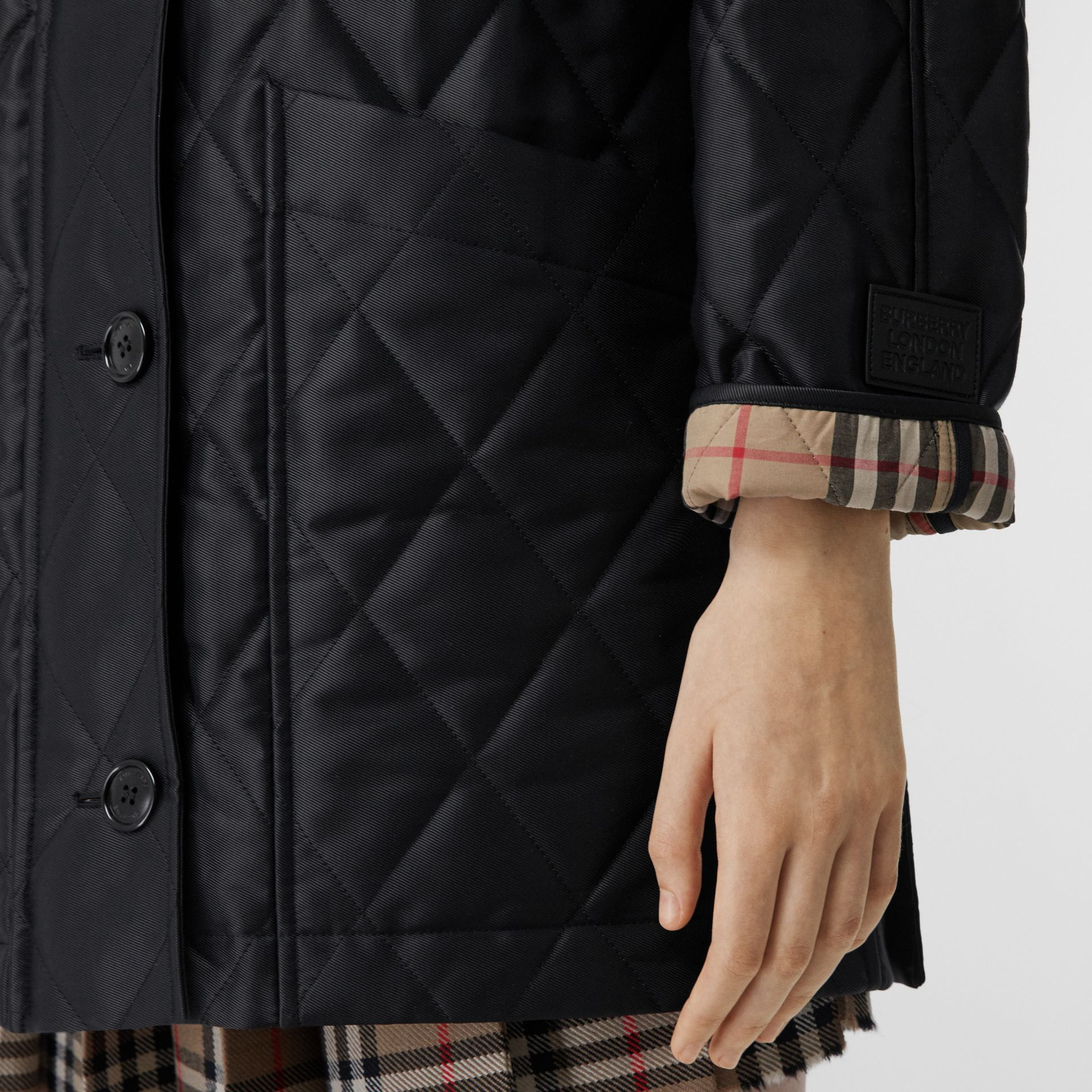 Diamond Quilted Cotton Hooded Coat in Black - Women | Burberry - gallery image 4