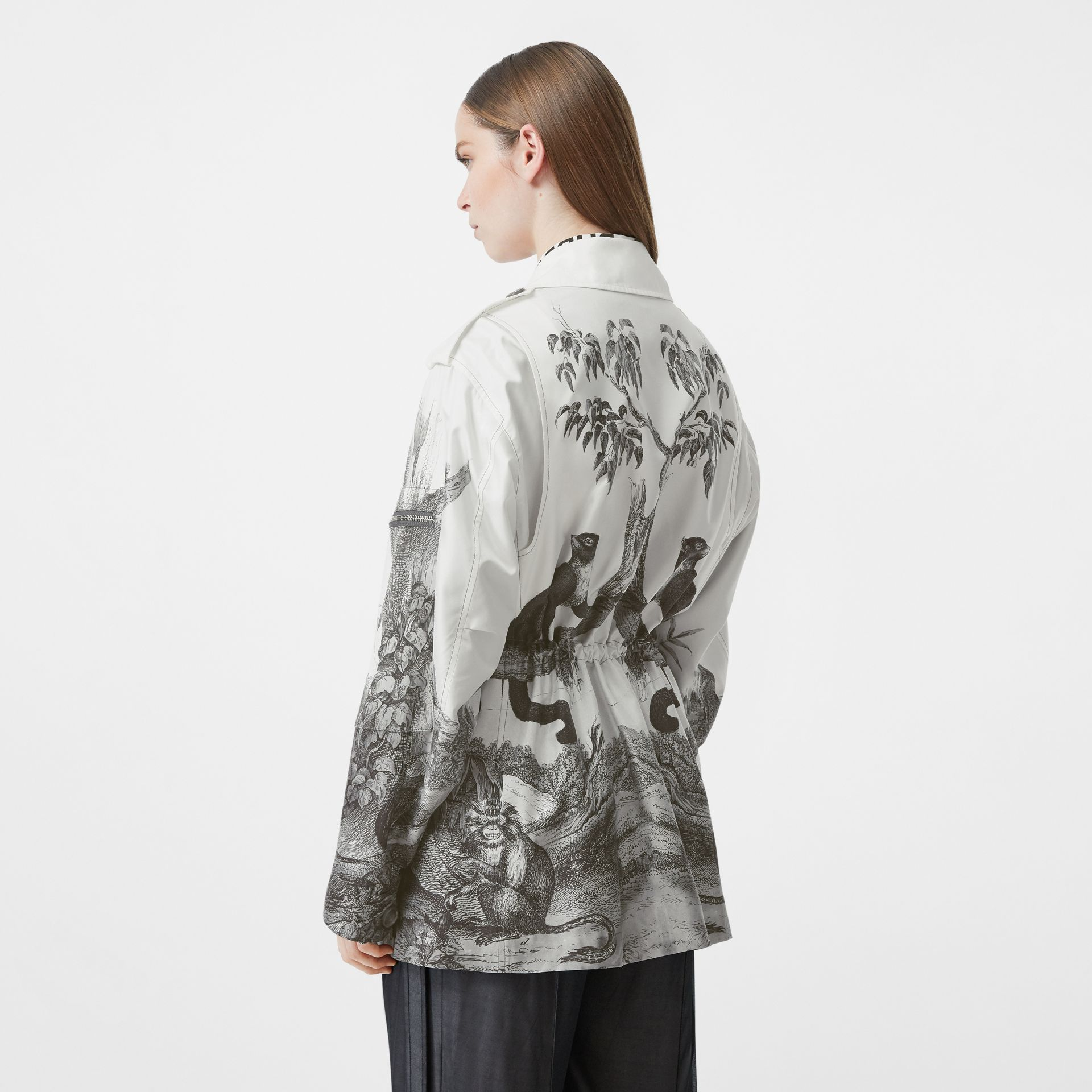 Monkey Print Silk and Cotton Gabardine Field Jacket in Monochrome - Women | Burberry - gallery image 2