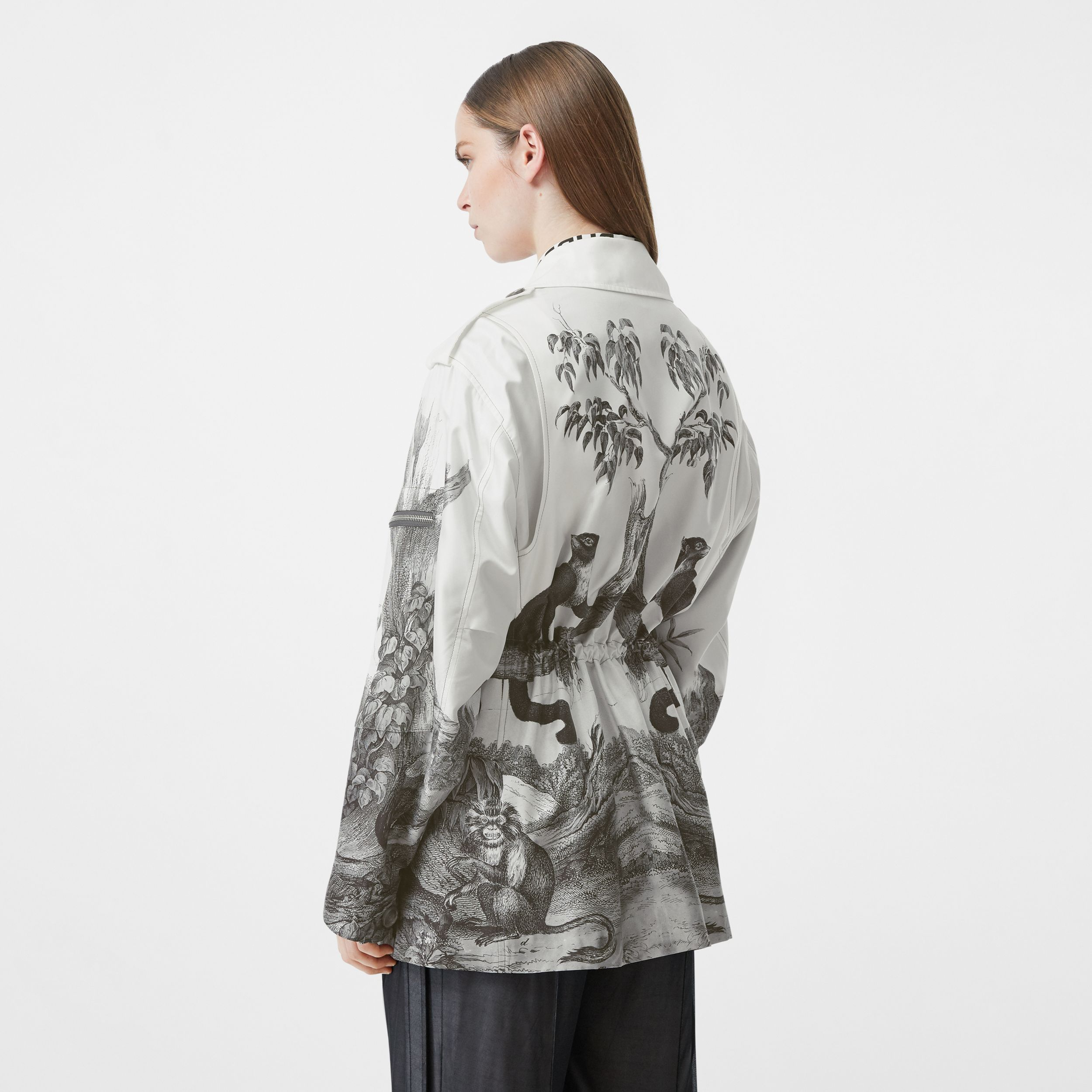 Monkey Print Silk and Cotton Gabardine Field Jacket in Monochrome - Women | Burberry Canada - 3