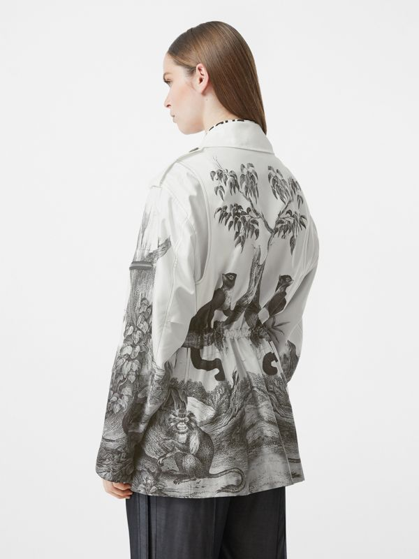 Monkey Print Silk and Cotton Gabardine Field Jacket in Monochrome - Women | Burberry - cell image 2