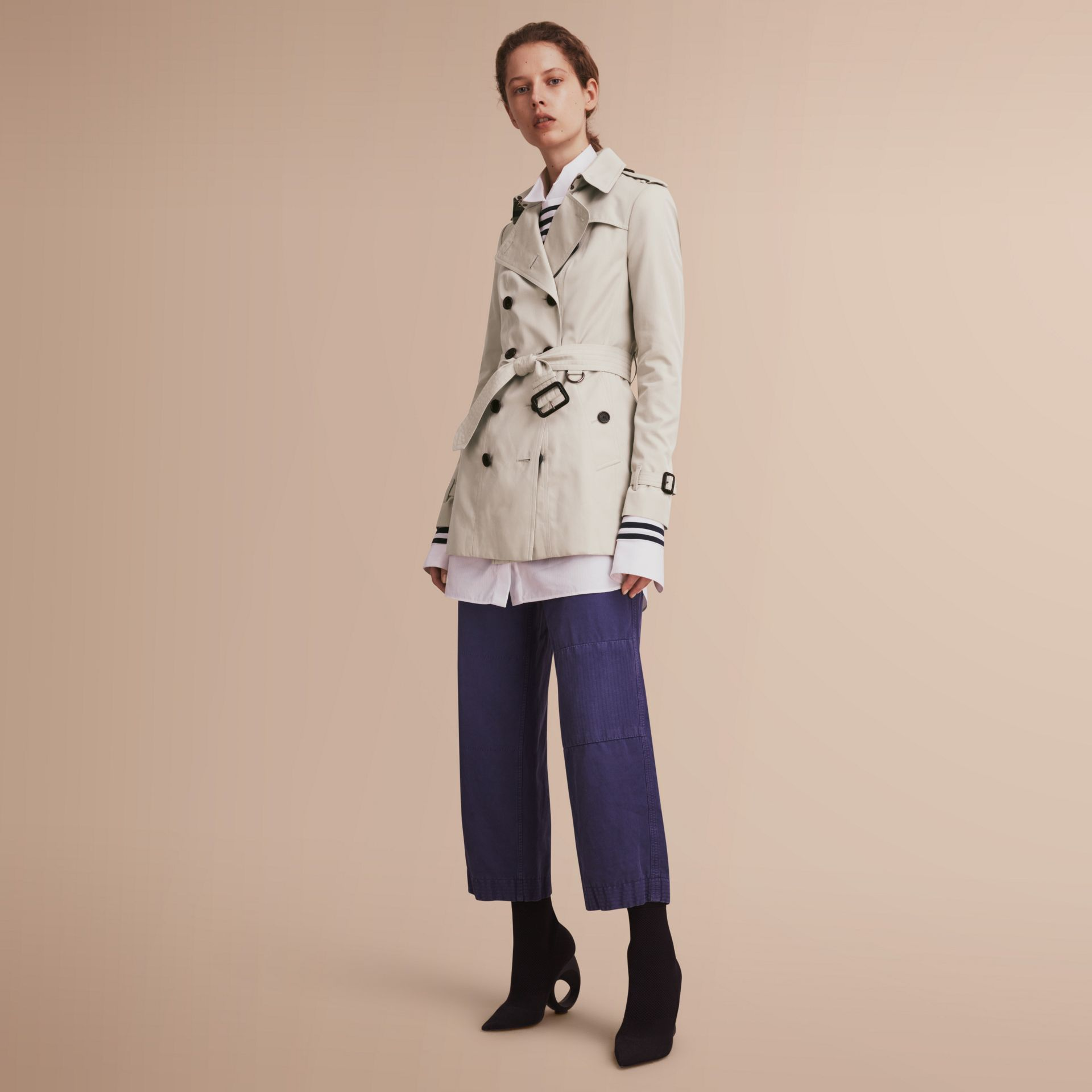 The Sandringham – Short Heritage Trench Coat in Stone - gallery image 1