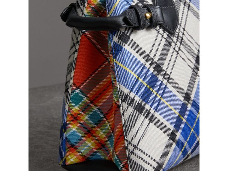 The Banner piccola in cotone tartan e pelle (Bianco Gesso) - Donna | Burberry - cell image 1