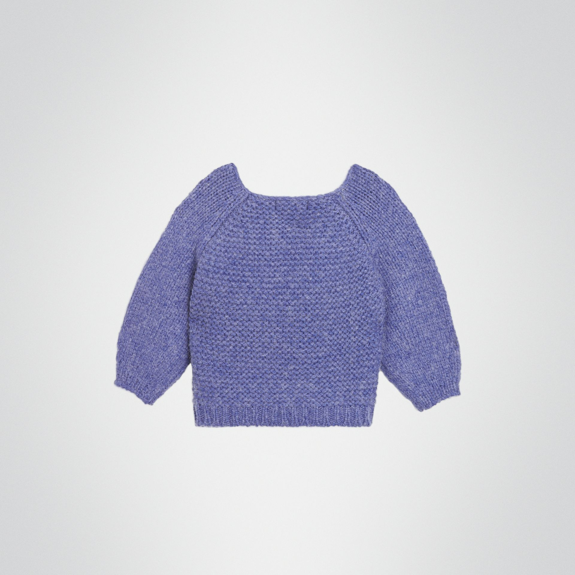 Embroidered Chunky Knit Wool Blend Sweater in Dusty Blue | Burberry - gallery image 3