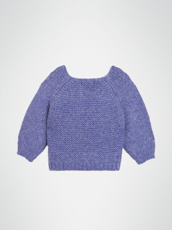 Embroidered Chunky Knit Wool Blend Sweater in Dusty Blue | Burberry - cell image 3