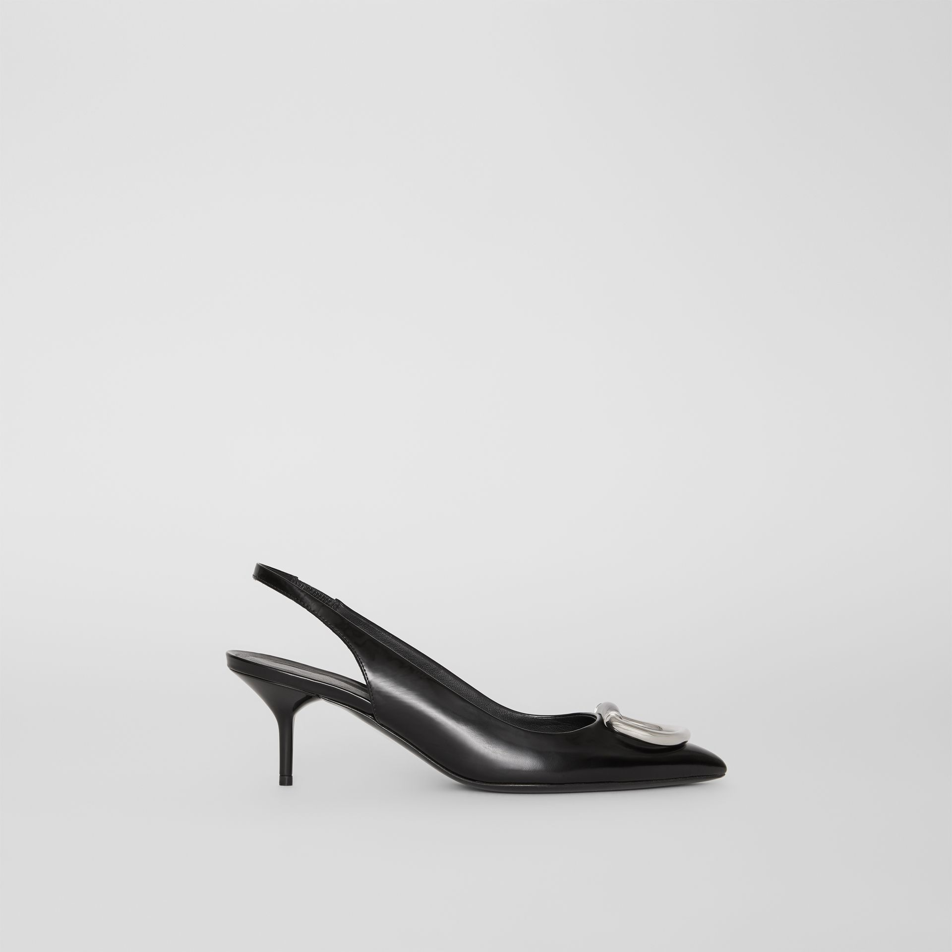 The Leather D-ring Slingback Pump in Black - Women | Burberry - gallery image 5