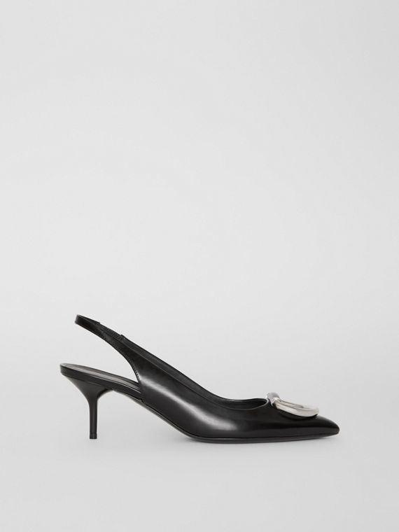 The Patent Leather D-ring Slingback Pump in Black
