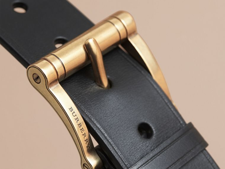 Brass Buckle Leather Belt in Black - Men | Burberry - cell image 1