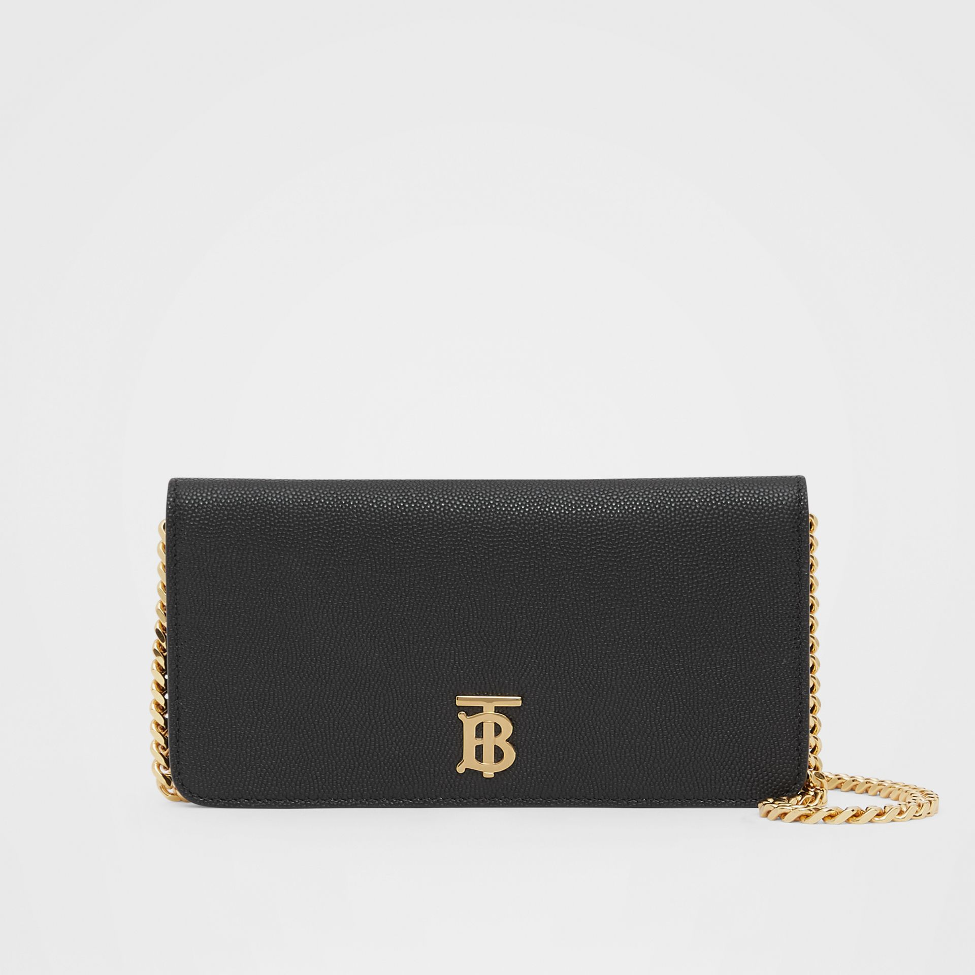 Grainy Leather Phone Wallet with Strap in Black - Women | Burberry - gallery image 0