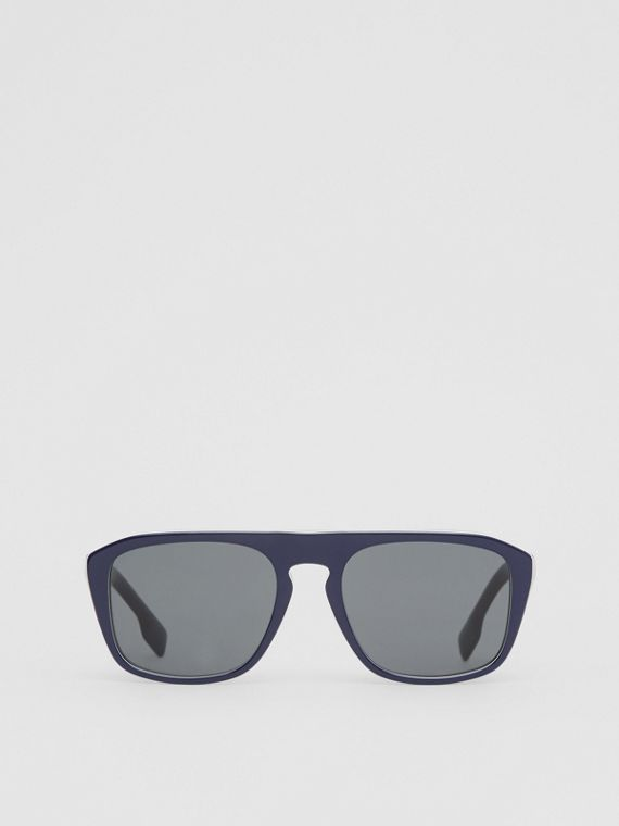 Icon Stripe Detail Square Frame Sunglasses in Blue
