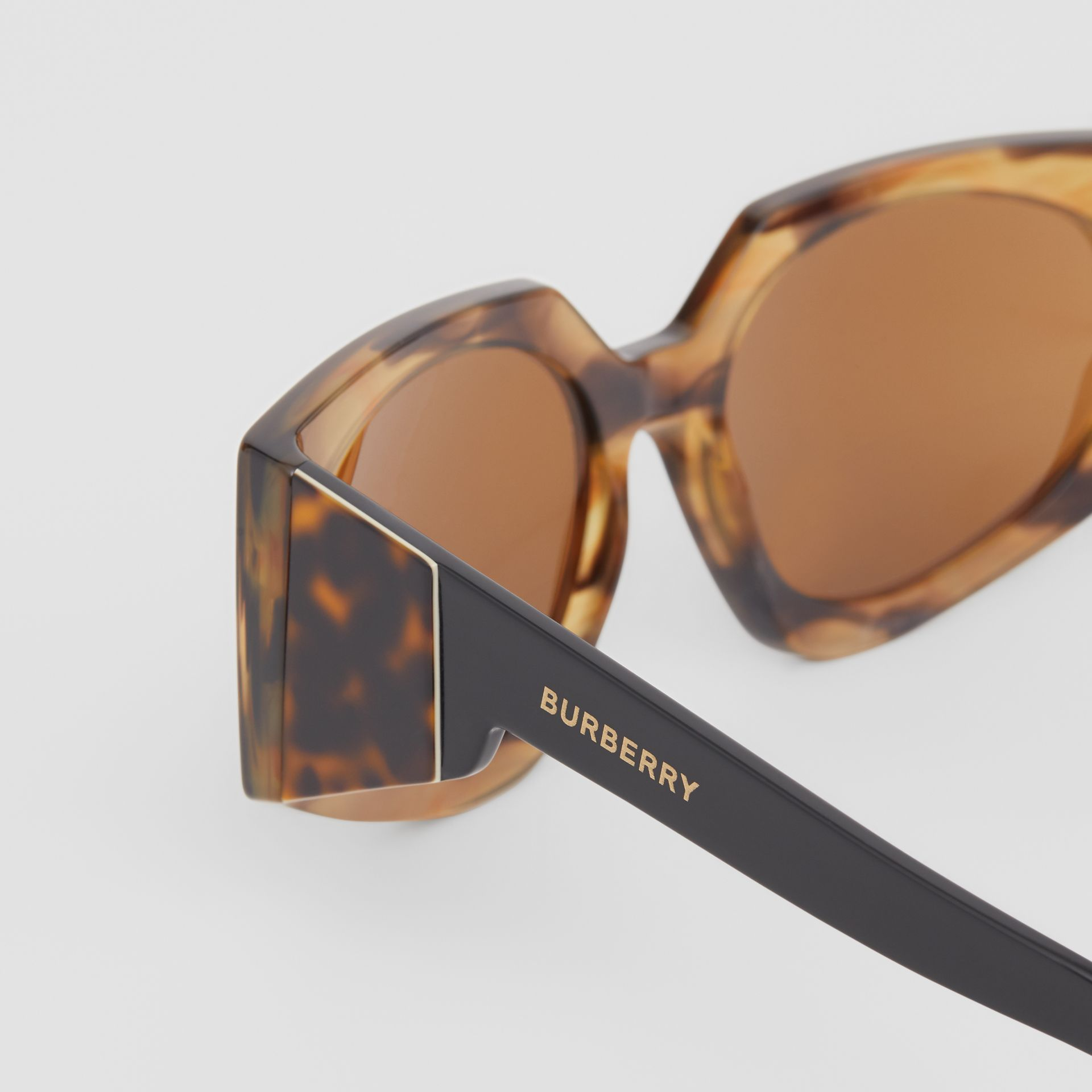 Geometric Frame Sunglasses in Bright Tortoiseshell - Women | Burberry - gallery image 1