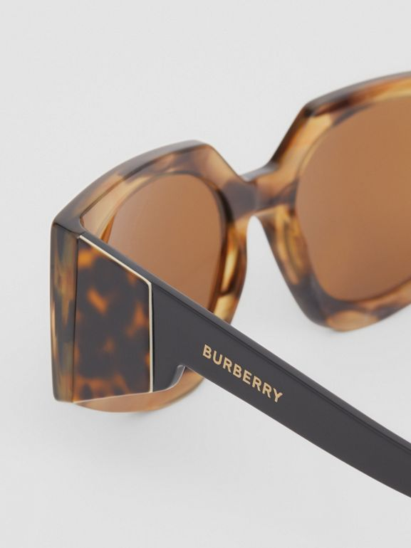 Geometric Frame Sunglasses in Bright Tortoiseshell - Women | Burberry - cell image 1