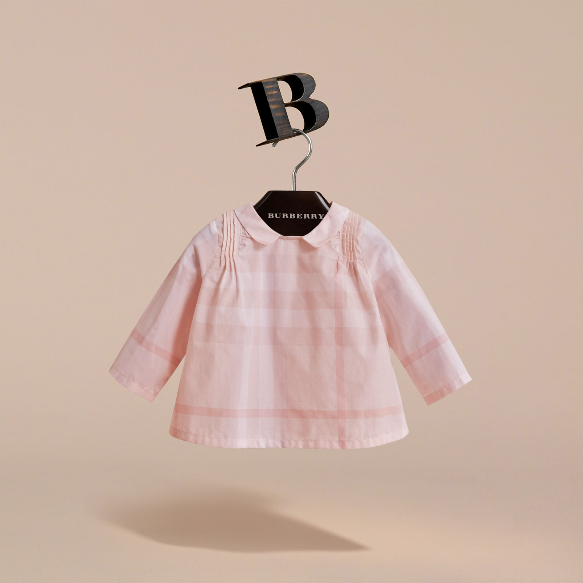 Peter Pan Collar Pintuck Detail Check Cotton Top in Ice Pink | Burberry - gallery image 3