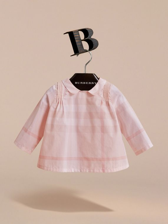 Peter Pan Collar Pintuck Detail Check Cotton Top in Ice Pink | Burberry - cell image 2