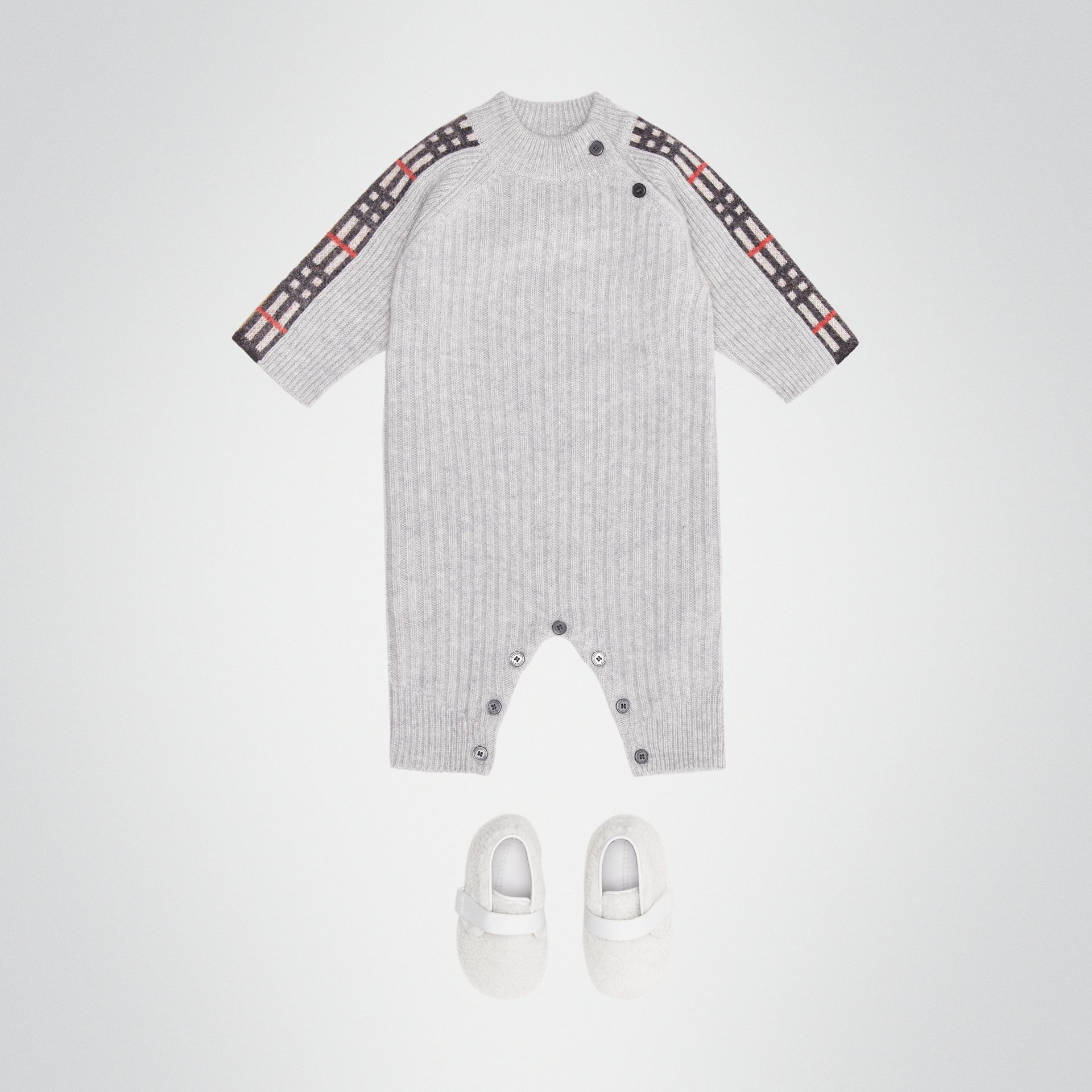 Check Detail Cashmere Jumpsuit in Light Grey Melange - Children | Burberry United Kingdom - gallery image 2