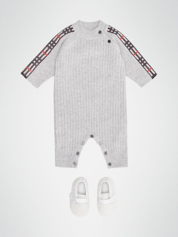 Check Detail Cashmere Jumpsuit in Light Grey Melange - Children | Burberry - cell image 2