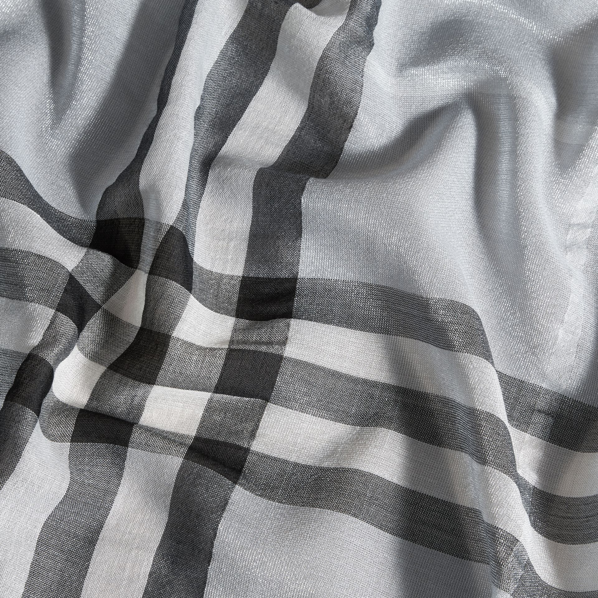 Metallic Check Silk and Wool Scarf in Dusty Blue/silver - Women | Burberry - gallery image 2