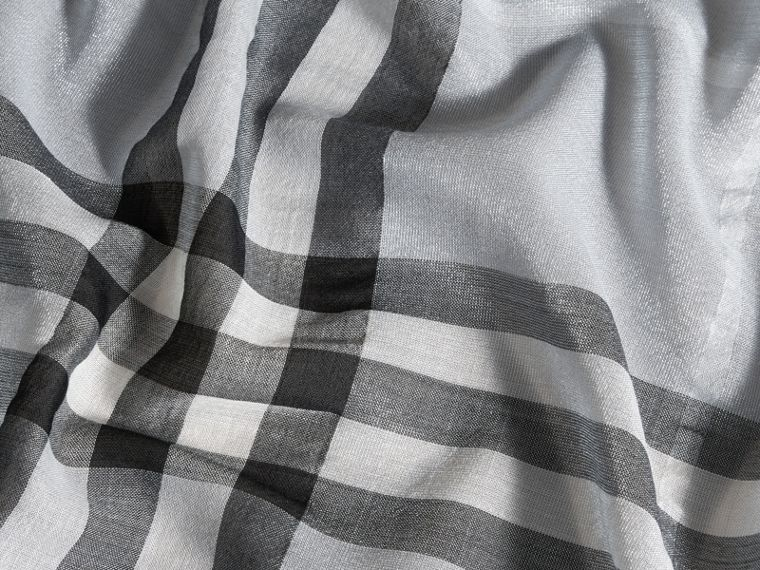 Metallic Check Silk and Wool Scarf in Dusty Blue/silver - Women | Burberry - cell image 1
