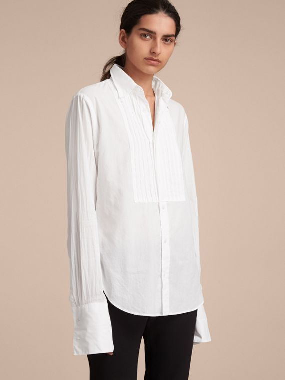 Unisex Double-cuff Pintuck Bib Cotton Shirt White