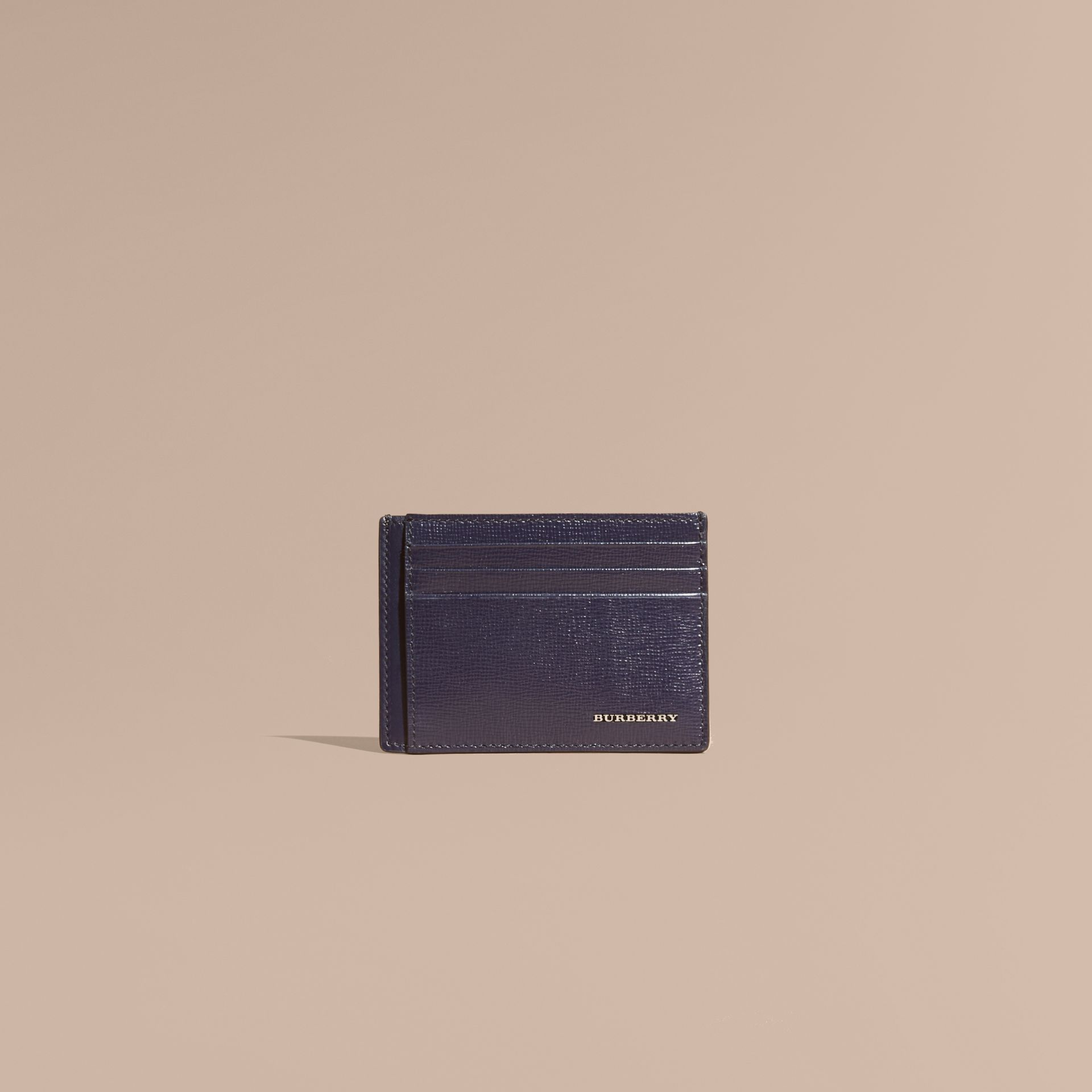 London Leather Card Case in Dark Navy | Burberry - gallery image 1