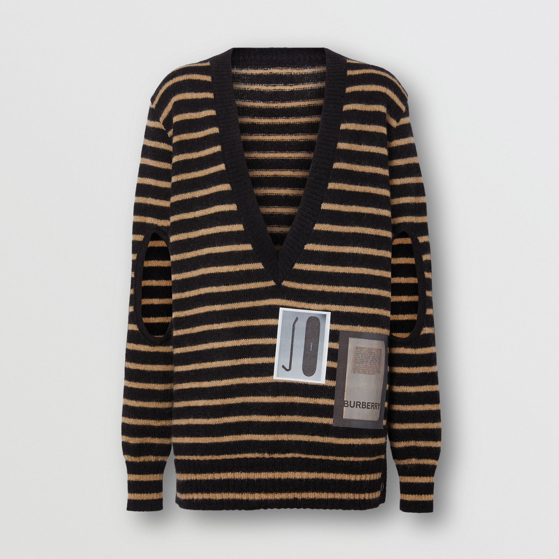 Montage Print Striped Mohair Wool Blend Sweater in Black/honey - Women | Burberry Canada - gallery image 3
