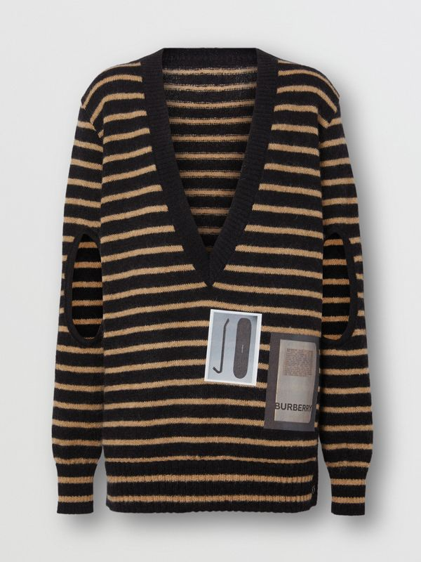 Montage Print Striped Mohair Wool Blend Sweater in Black/honey - Women | Burberry Hong Kong - cell image 3