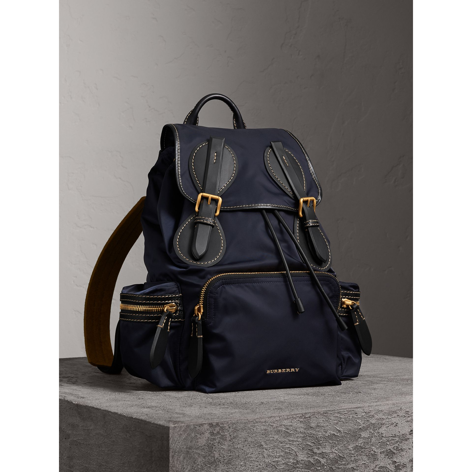 The Large Rucksack in Technical Nylon and Topstitched Leather in Dark Navy - Men | Burberry - gallery image 0
