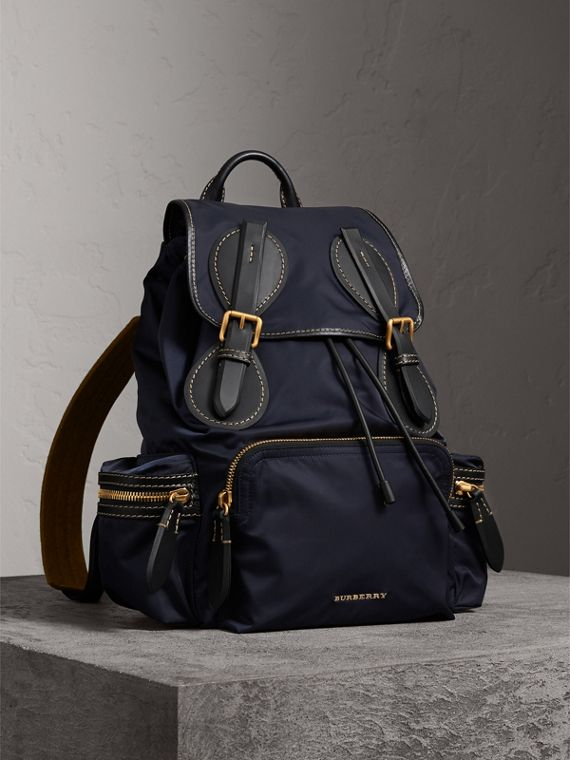 The Large Rucksack in Technical Nylon and Topstitched Leather in Dark Navy